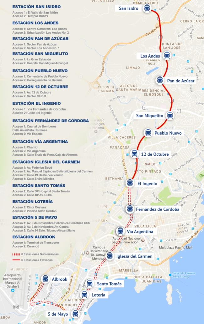 Panama Subway Map.Linea 1 El Metro De Panama